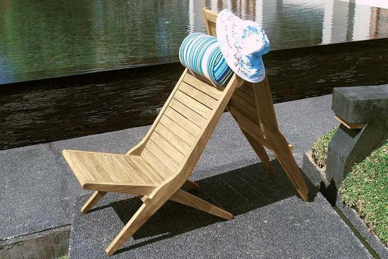 Collezione TEAK – Coppia di sedie sdraio pieghevoli SAVANA